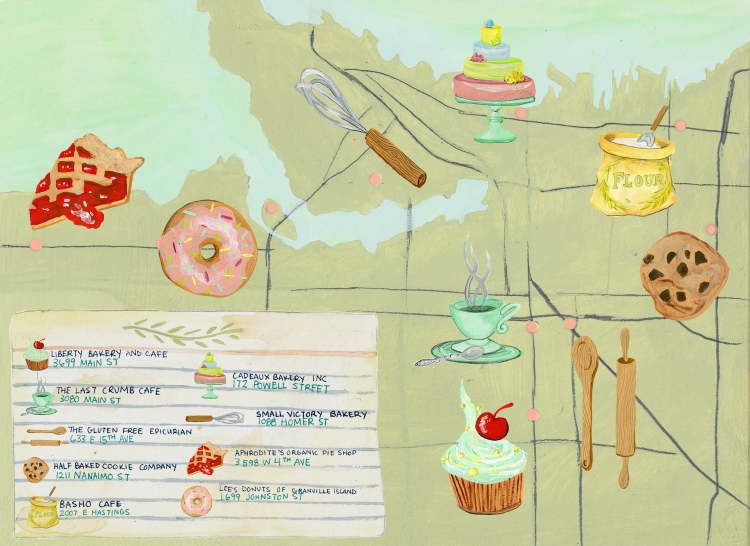 Bakery Crawl Map illustration for Montecristo Magazine by Eva Dominelli